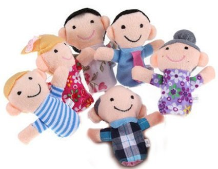 SODIAL- 6 Pc Soft Plush My family Finger Puppet Set Includes Grandma Granddad Sister Brother Mom Dad