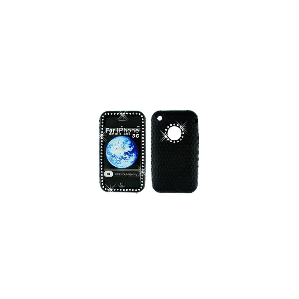 Bgs cells Diamond Rhinestone Soft Silicone Skin Gel Cover Case for Apple Iphone 3gs Black 1 Pack