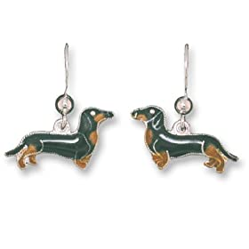 Clearly Charming Black & Tan Dachshund Dog Sterling Silver and Enamel Earrings by Zarah