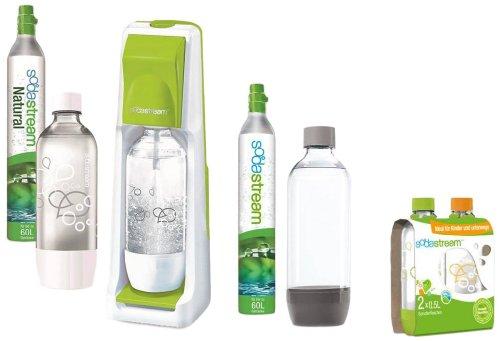 SodaStream Wassersprudler Cool MaxiPack (mit 2 x CO2-Zylinder 60L, 3 x 1L PET-Flaschen und 2 x 0,5L PET-Flaschen); grün