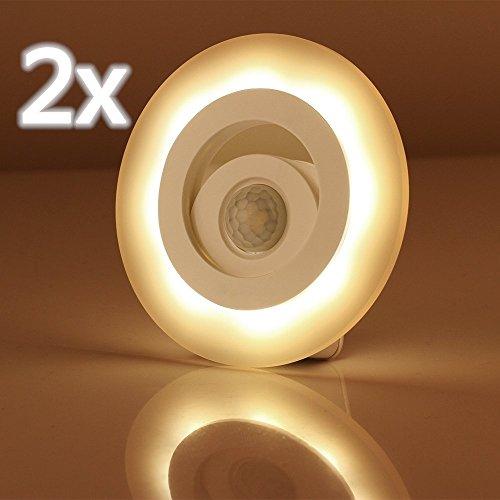 LEDemain® Luce Notturna Sensore di Movimento Funzionamento a Batterie Lamapada da Parete Bianco (2*Luce bianca calda)