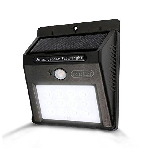 iceter lámpara solar 12LED Solar Lámpara de Seguridad, movimiento Sensor de luz con 3Modos inteligente para jardín, etc.