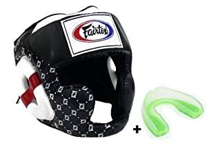 Fairtex HG10 - Super Sparring Headguard & MG - Mouthguard. Head guard available in Size M L XL, Black White Color. Muay Thai Kick Boxing MMA K1 protective headgear.