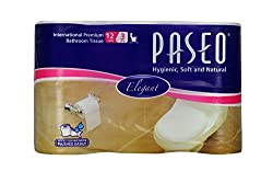 Paseo Superior 3 ply Toilet Roll Paper Tissue - 12 Rolls
