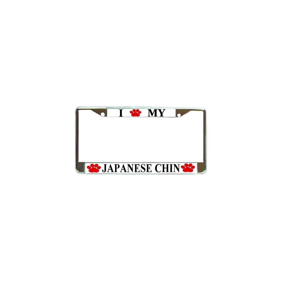 JAPANESE CHIN DOG paw print License Plate Frame
