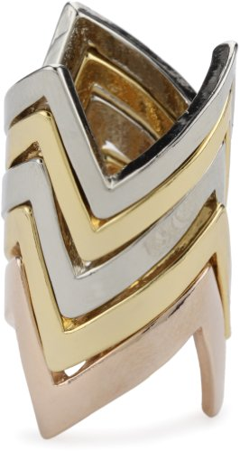 House of Harlow 1960 Gold-Plated Tri-Colored Five Stack Jagged Rings, Size 7