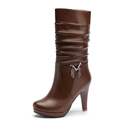 Voguezone009 Womens Round Closed Toe High Heels Pu Short Plush Solid Boots With Glass Diamond, Brown, 39
