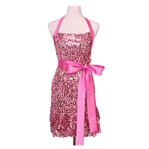"""Glamour Girl"" Pink Sequin Apron by Haute in the Kitchen TM"