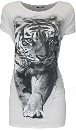 Womens Plus Tiger Animal Print Ladies Short Sleeve T-Shirt Top - White - 14-16