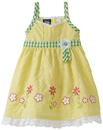 So La Vita Little Girls' Toddler Flower Embroidery Dress, Yellow, 3T