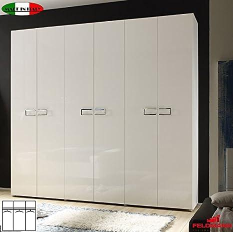 Kleiderschrank 555025 Schlafzimmerschrank 6-turig weiß Hochglanz lackiert 237cm