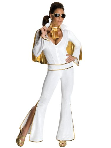 Womens Elvis Costume Rockstar Celebrity Costume 60s Retro White Jumpsuit