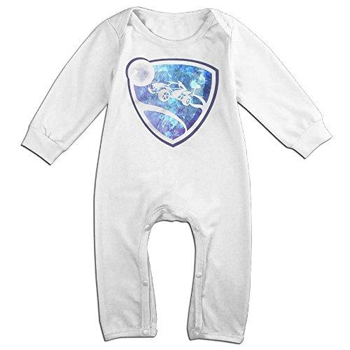 [KIDDOS Baby Infant Romper Soccer Video Game Long Sleeve Jumpsuit Costume,White 6 M] (Racer Girl Romper Costumes)