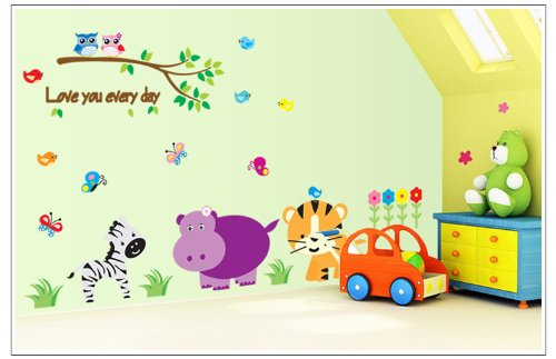 Apexshell (Tm) Love You Every Day Cartoon Style Lovley Animals Under Tree Removable High Quality Diy Decorate Wall Decal Sticker Decor For Kids, Home, Nursery Room, For Children'S Bedroom front-497116