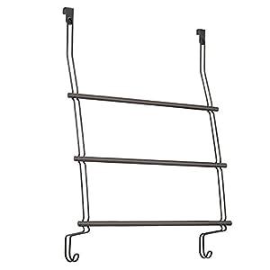 InterDesign Classico Over-The-Shower-Door Towel Rack 3, Bronze
