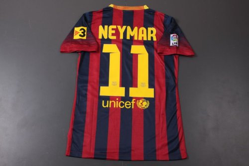 NEW 2013-14 FC Barcelona Home (NEYMAR 11) Adult PLAYER VERSION Soccer Jersey (Size L)