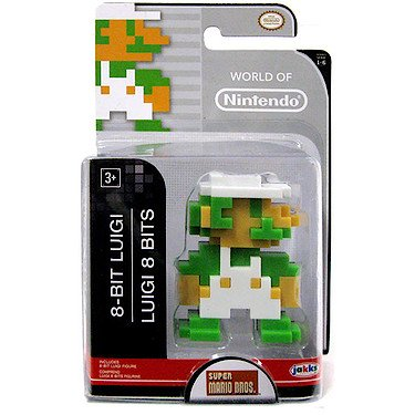 "World of Nintendo 86732 2.5"" 8 Bit Luigi Action Figure - 1"