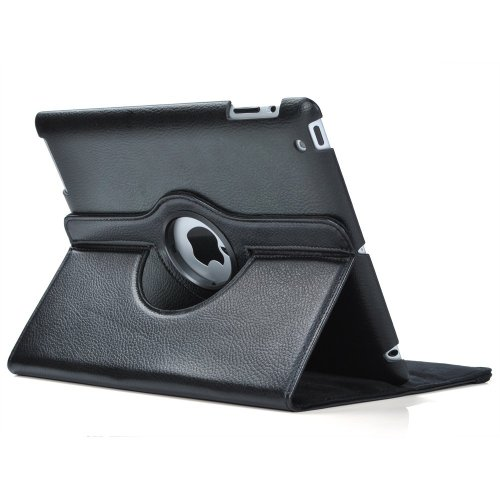 Black 360 Degrees Rotating Stand Leather Case for iPad 2 2nd