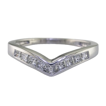 1/2 CT V-Shape Princess Cut Diamond Wedding Band 14K White Gold (Available In Sizes J - T)