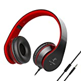 AILIHEN I60 Bass Headphones with Microphone 3.5mm Lightweight Foldable On ear Adjustable Headsets for Cellphones Smartphones iphone Laptop Computer MP3/4 for Music Gaming (Black Red)