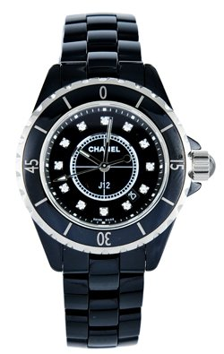 Chanel J12 Diamonds Black Ceramic Ladies Watch H1625 by Chanel