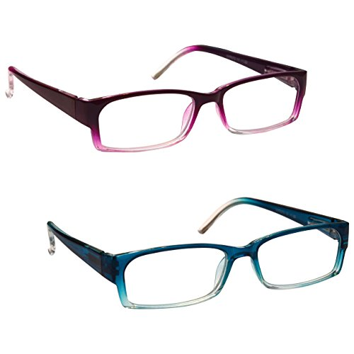 La Compañía Gafas De Lectura Púrpura / Azul Del Mar Ligero Lectores Valor Pack 2 Mujeres Señoras UVR2PK072PP_072BL Dioptria +1,50