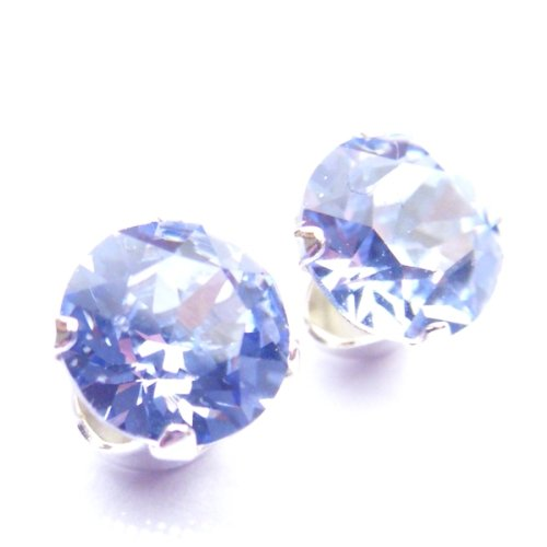 925 Sterling Silver Stud Earrings set with Provence Lavender Swarovski Crystal Stones. Gift Box. Made in England. Beautiful jewellery for very special people.