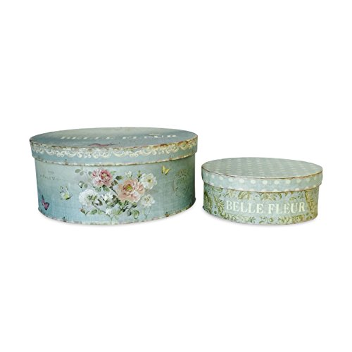The Belle Fleur Stackable French Box Set of 2, for Gifts, Storage and Decorative, Chouette Fleur Antiqued Style, Pale Blue Color, 8 1/2