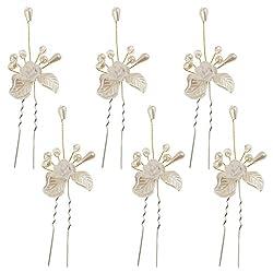 Imported 4pcs Wedding Bridal Hair Pins Leaf Flower Pearls Hair Clip Hair Accessories