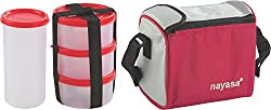 Nayasa Nebula Plastic Lunch Box, 4-Pieces, Red