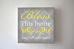 MuralMax - Bless This Home & All Who Enter Quote, Stretched Canvas Wall Art, Memorable Anniversary Gifts, Unique Wall Decor, Color, Gray - 30-DAY - Size 40 x 40