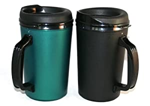 20 oz ThermoServ Foam Insulated Coffee Mug Black Green Two Pack by Thermoserv