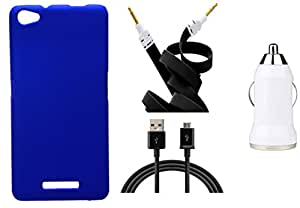 Toppings Hard Case Cover With Car Charger,Data Cable & Aux Cable For Micromax Canvas Hue 2 A316 - Blue