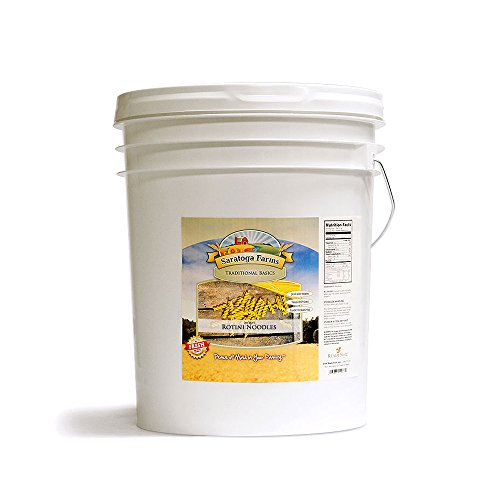 Saratoga Farms Instant Rotini Noodles Value Bucket, Emergency Food Storage (107 3/4 Cup Servings Dry, 187 Cups Prepared) (Round Pasta Noodles compare prices)