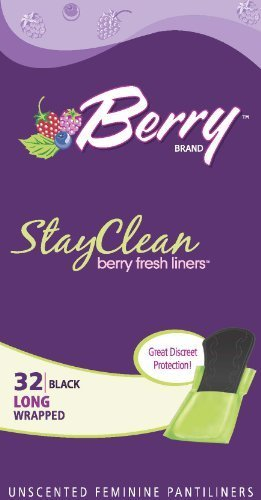 Berry Stayclean Black Feminine Pantiliners Long,32ct