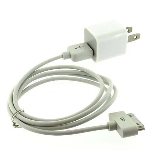 USB Wall Adapter Charger with USB to Dock Connector cable compatible with ALL iPhone 3 3G 3GS 4 4S