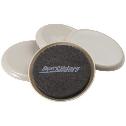 Waxman 4703495K 3 1/2 Inch Reusable Round Super Sliders, Beige, 4 Pieces front-936075