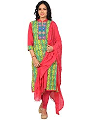 Rama Designer Embroidered Cotton Kurti With Red Legging And Dupatta - B01DIW9OTY