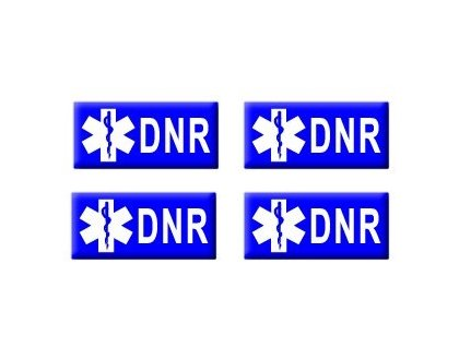 Dnr - Do Not Resuscitate - Set Of 4 Badge Stickers - Apply To Any Surface