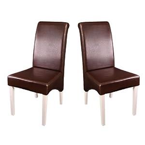 Set 2x sedie m37 sala pranzo pelle marrone piedi bianchi for Sedie in pelle marrone