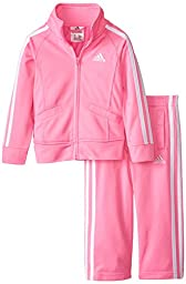 Adidas Toddler Girls\' Iconic Tricot Jacket and Pant Set, Pink Basic, 4T