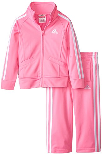 adidas Little Girls' Toddler Iconic Tricot Jacket and Pant Set, Pink Basic, 2T
