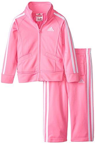 adidas Toddler Girls' Tricot Zip Jacket and Pant Set, Pink Basic, 2T