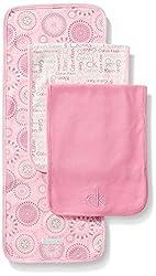 Calvin Klein Baby-Girls Newborn 3 Packs Burp Cloths Pink and Gray, Multi, One Size