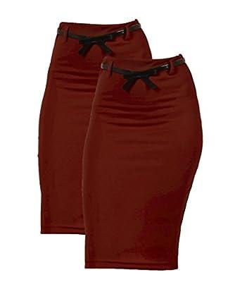 2 Pack Women's High Waist Below Knee Pencil Skirt