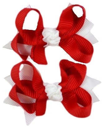 "2.5"" Children'S Boutique Hair Bow Set (Red & White)"