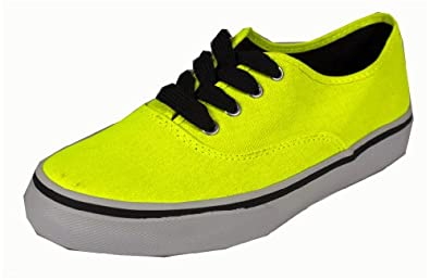 Ribbon! By Soda Comfy and Fashionable Round-toed Canvas Sneakers, neon yellow, 5.5 M