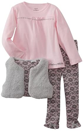 Calvin Klein Girls 2-6X Small Vest With Pink Top And Printed Legging, Gray, 2T