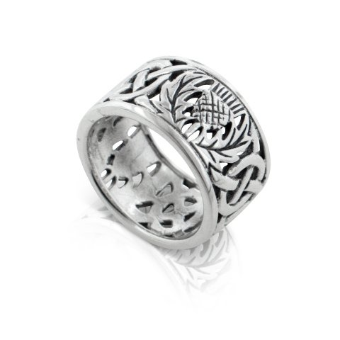 Scottish Thistle and Celtic Knot Wedding Band 11mm Wide Sterling Silver Ring Size 8(Sizes 3,4,5,6,7,8,9,10,11,12,13,14,15)