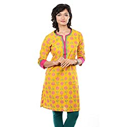 Saamarth Impex Floral Block Printed Yellow Color 3/4 Sleeve Cotton Kurtis SI-2095